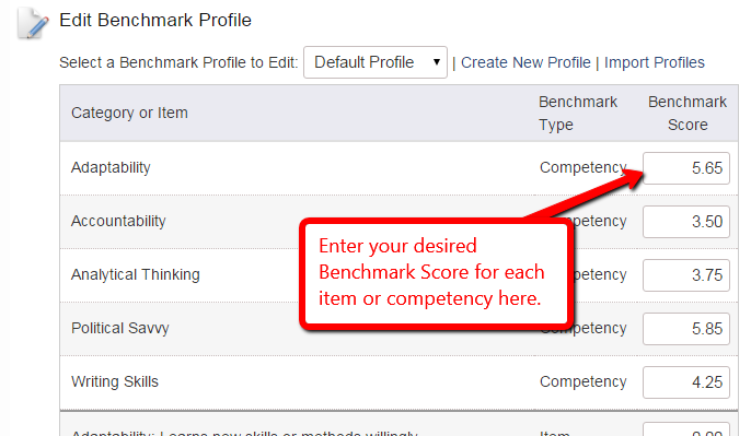 Configure benchmark scores for feedback reports