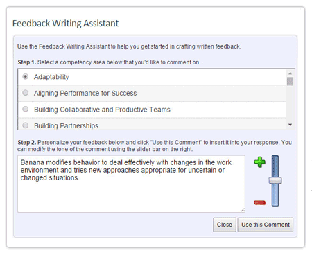360-degree feedback writing assistant screen